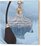 Perfume Bottle Still Life I In Blue Wood Print