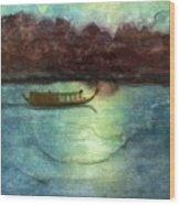 Perfume River By Moonlight Wood Print