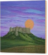 Perigee Moon Rising Above Crow Butte Wood Print