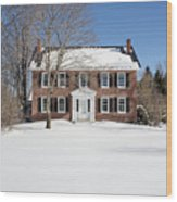 Period Vintage New England Brick House In Winter Wood Print