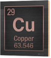 Periodic Table Of Elements - Copper - Cu - Copper On Black Wood Print
