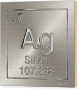 Periodic Table Of Elements - Silver - Ag Wood Print
