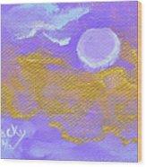 Periwinkle Moon Wood Print