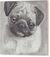 Perky Pug Wood Print