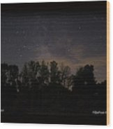 Perseid Meteor In Milky Way Wood Print