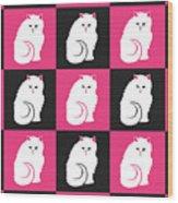 Persian Cat Pattern Wood Print