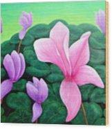 Persian Violet Cyclamen Wood Print
