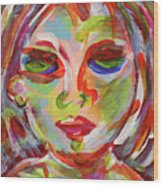 Persistence - Contemporary Art Face Wood Print