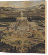 Perspective View Of The Chateau Gardens And Park Of Versailles Wood Print