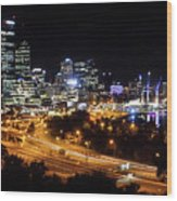 Perth By Night Wood Print