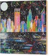 Perth Skyline Alla Pollock  Wood Print