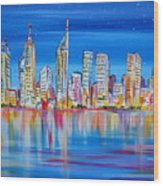 Perth Skyscrapers Skyline On The Swan River Wood Print