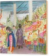 Peruvian Flower Market Wood Print