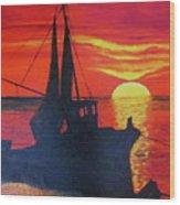 Peschereccio E Tramonto Wood Print