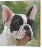Pet Bulldog Portrait Wood Print