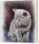 Pet Cat Portrait Wood Print