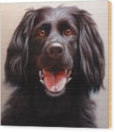 Pet Portrait Of A Black Labrador Wood Print