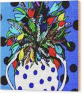 Petals And Dots Wood Print