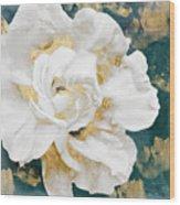 Petals Impasto White And Gold Wood Print