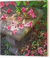 Petals On A Bench Wood Print