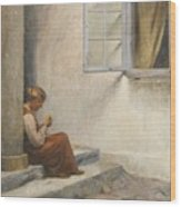 Peter Ilsted Danish, 1861-1933, On The Porch, Liselund Wood Print