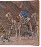 Petra Camels Wood Print