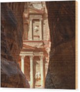Petra Treasury Revealed Wood Print