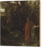 Petrarch By The Fountain Of Vaucluse Wood Print
