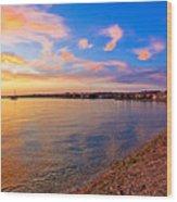Petrcane Beach Golden Sunset View Wood Print