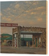 Petrified Gas Station After Rain Wood Print