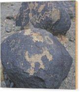 Petroglyphs By Hohokam People, Circa Wood Print