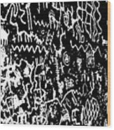 Petroglyphs Vertical Black And White Wood Print