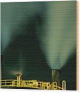 Petroleum Refinery Chimneys At Night Wood Print