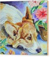 Petunias - Pembroke Welsh Corgi Wood Print by Lyn Cook