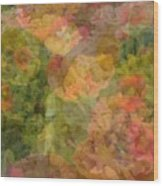 Petunias And Lantana Collage Wood Print