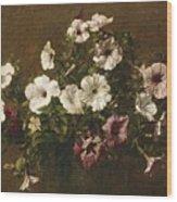 Petunias Wood Print by Ignace Henri Jean Fantin-Latour