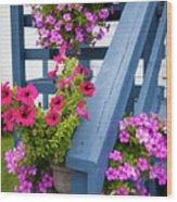 Petunias On Blue Porch Wood Print
