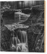 Pewits Nest Waterfalls In Black And White Wood Print