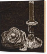 Pewter And Pearls - Sepia Wood Print