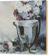 Pewter Coffee Pot And Daisies Wood Print