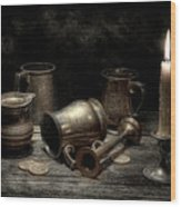 Pewter Still Life I Wood Print
