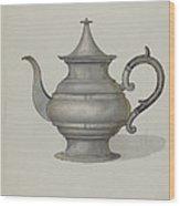 Pewter Teapot Wood Print