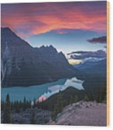 Peyto Lake At Dusk Wood Print