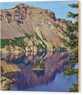 Phantom Ship In Crater Lake Wood Print