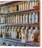 Pharmacy - Pick And Elixir Wood Print