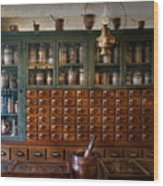 Pharmacy - Right Behind The Counter Wood Print