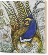 Pheasant Blue Wood Print