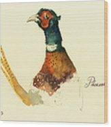 Pheasant Painting Wood Print