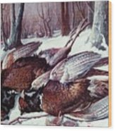 Pheasants Hunt - Sold Wood Print