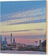 Philadelphia At Dawn Wood Print by Bill Cannon